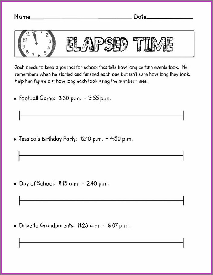 Elapsed Time On A Number Line Worksheet