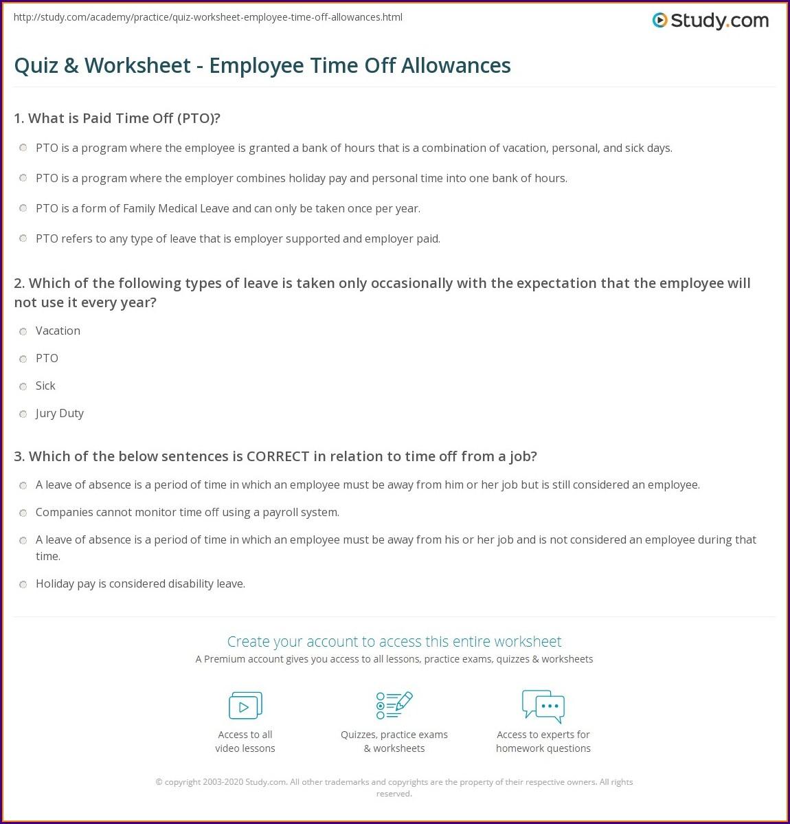 Employee Time Study Worksheet