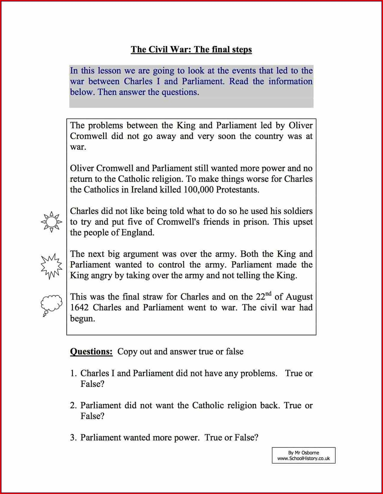 English Civil War Worksheet Pdf