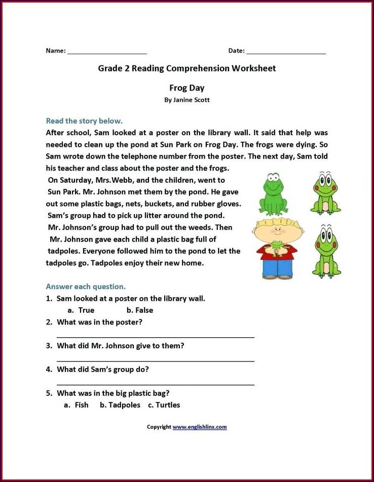 English Comprehension Worksheet For Grade 2
