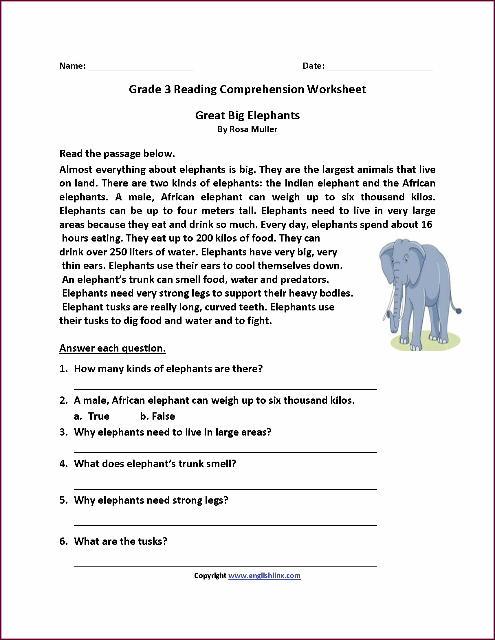 English Comprehension Worksheets For Grade 3 With Answers
