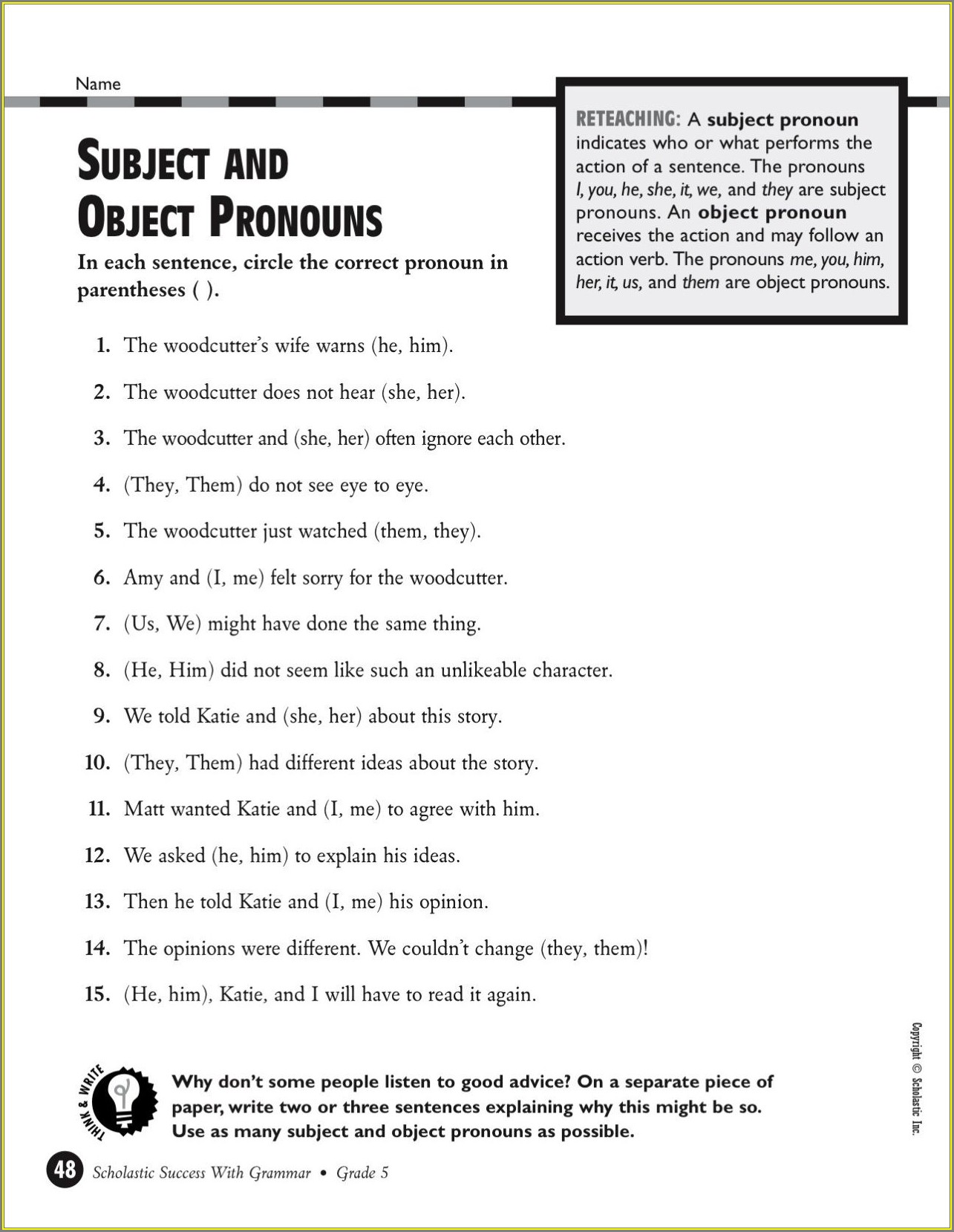 English Grammar Printable Worksheets For Grade 5