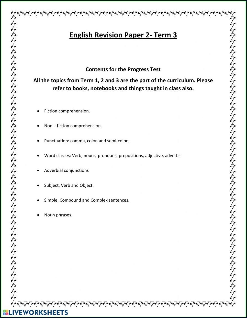 English Language Worksheet For Class 5