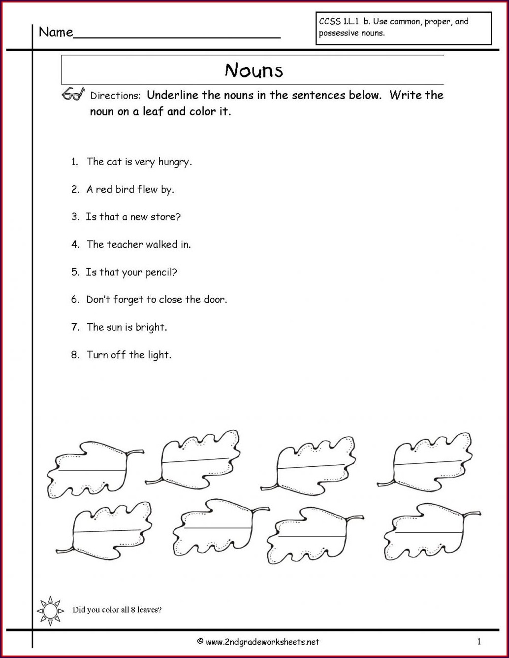 English Printable English Grade One Worksheets