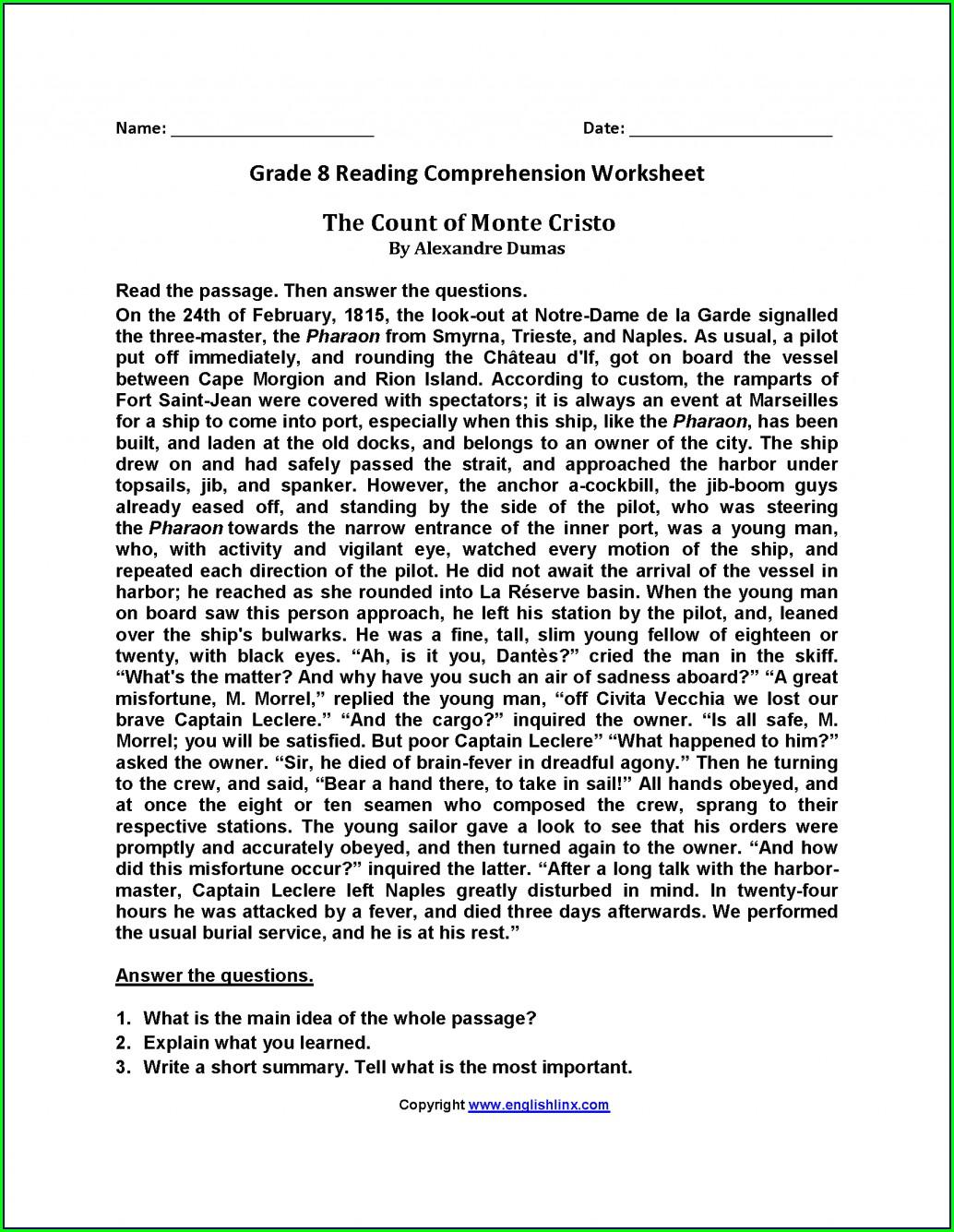 English Reading Worksheet For Grade 1