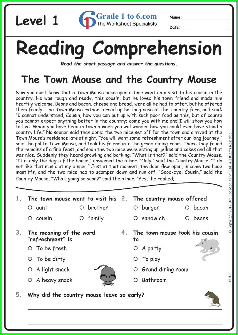 English Worksheet For 1st Class