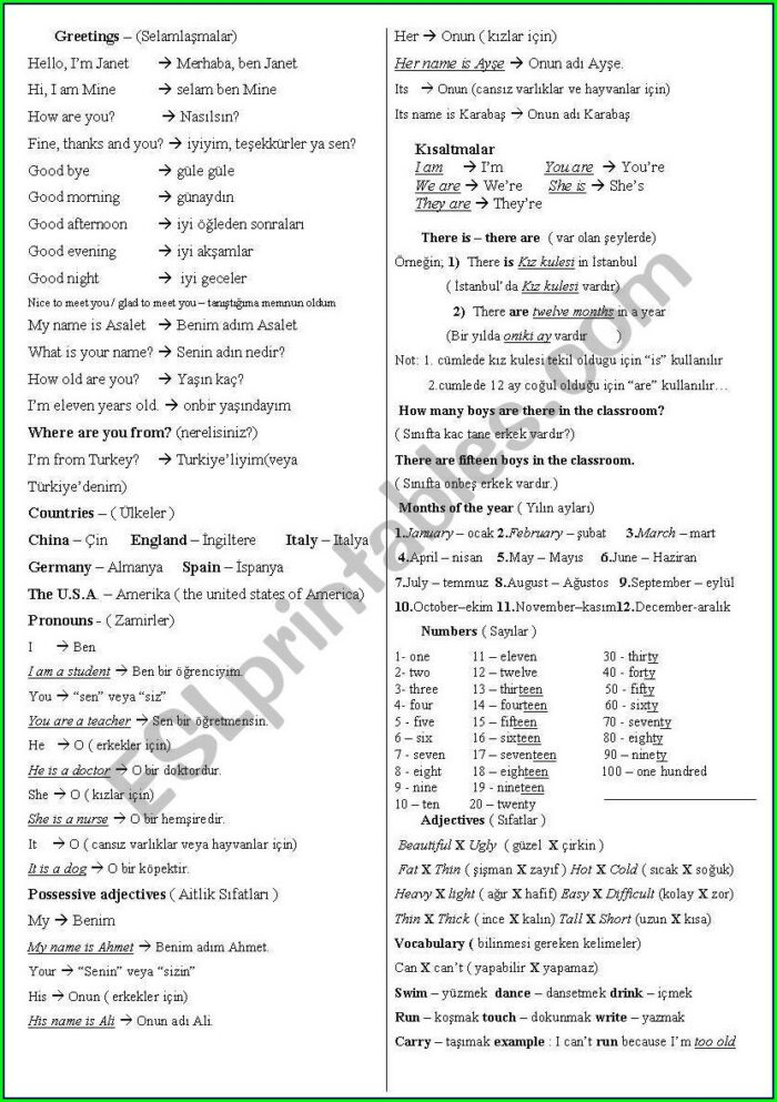 English Worksheet For 5th Class