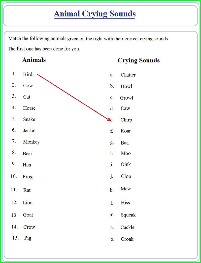 English Worksheet For Class 1 Pdf