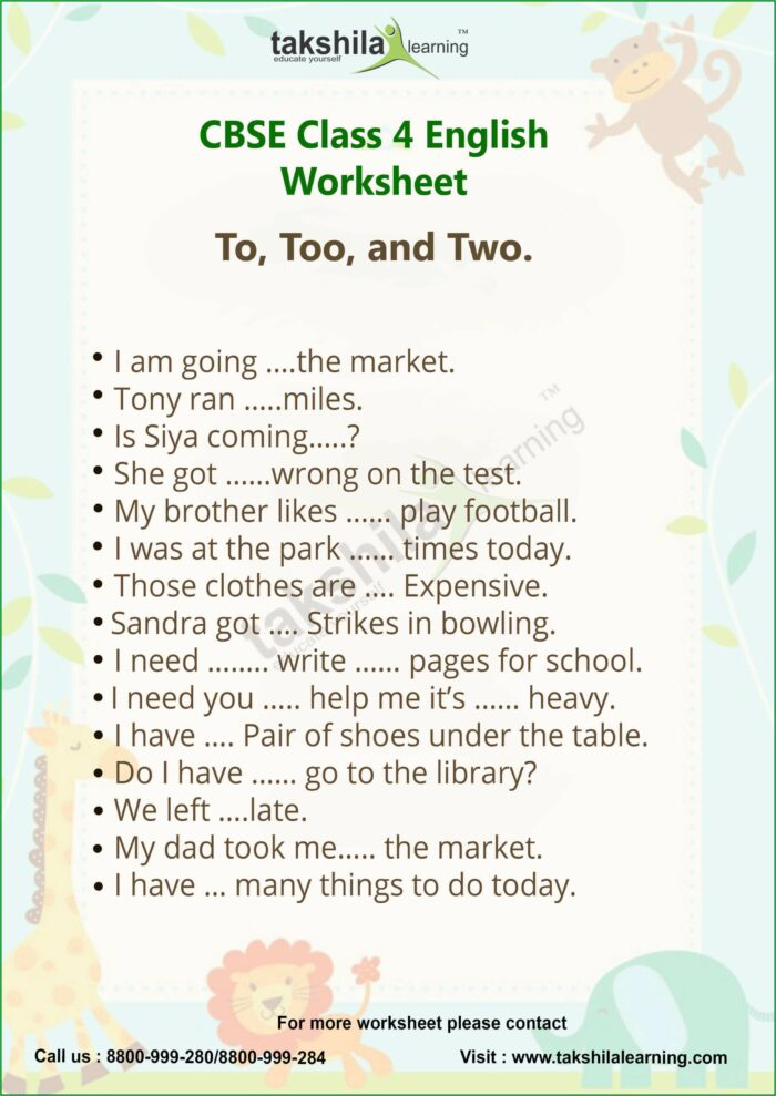 English Worksheet For Class 4 Evs