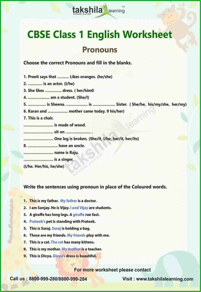 English Worksheet For Class 5 Cbse