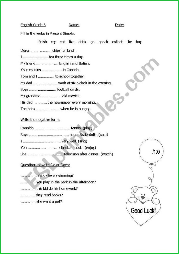 English Worksheet For Class 6th