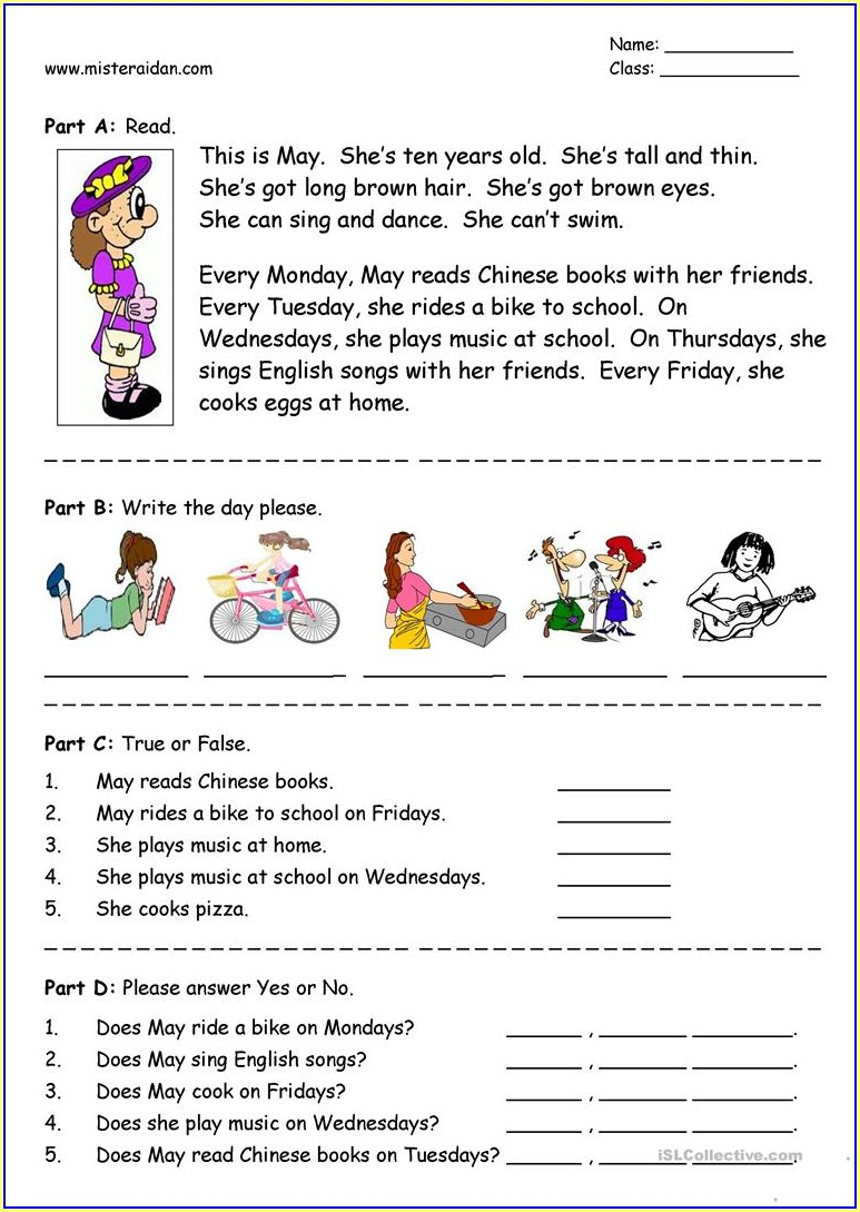 English Worksheet For Kids+free+download