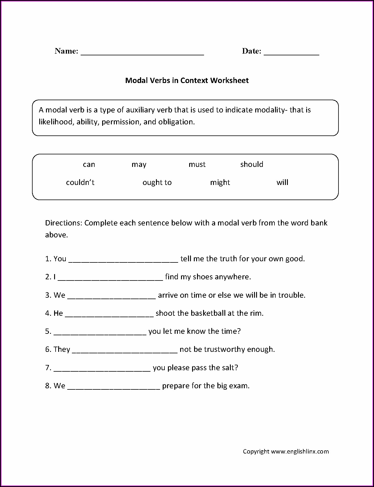 English Worksheet On Tenses For Class 7