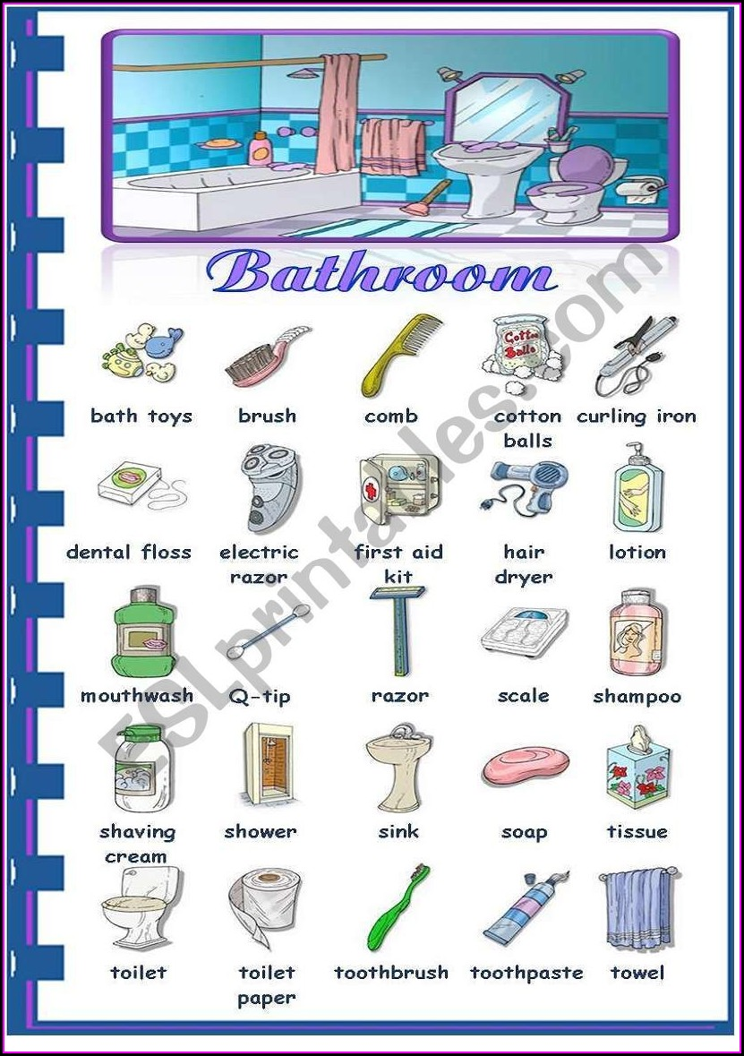 English Worksheet Rooms In The House