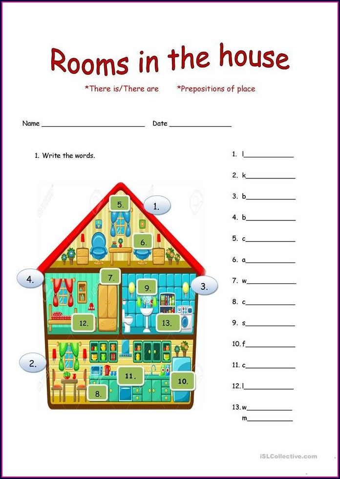 English Worksheet The House