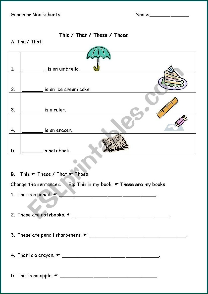 English Worksheet This That These Those
