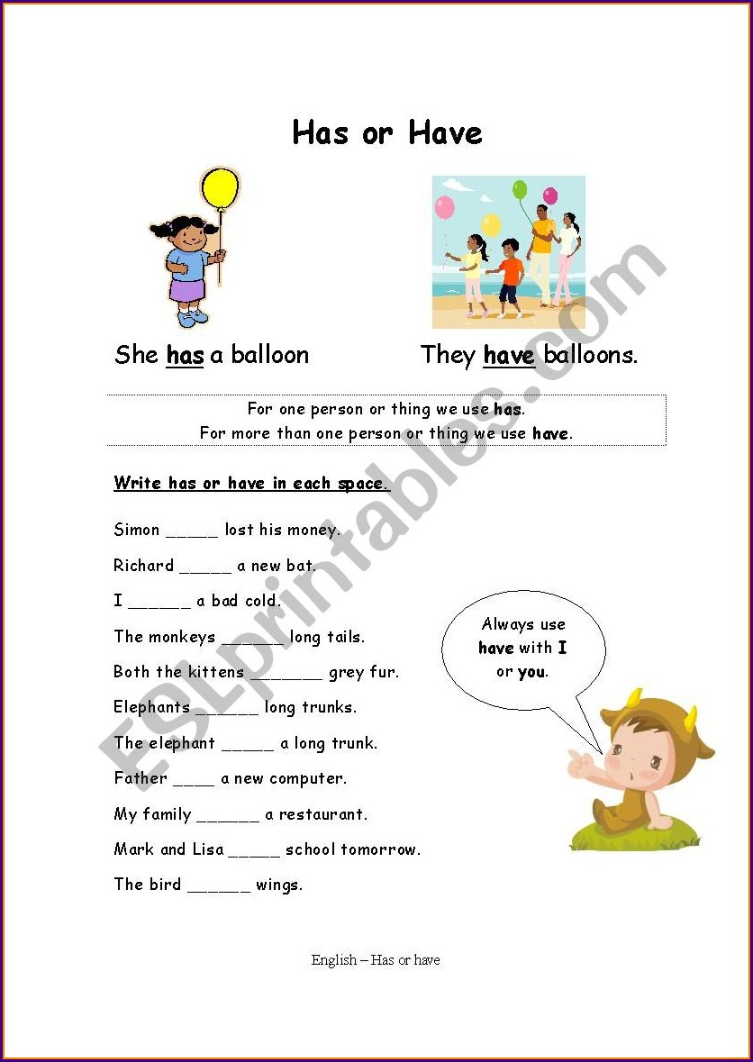 English Worksheet Using Has And Have