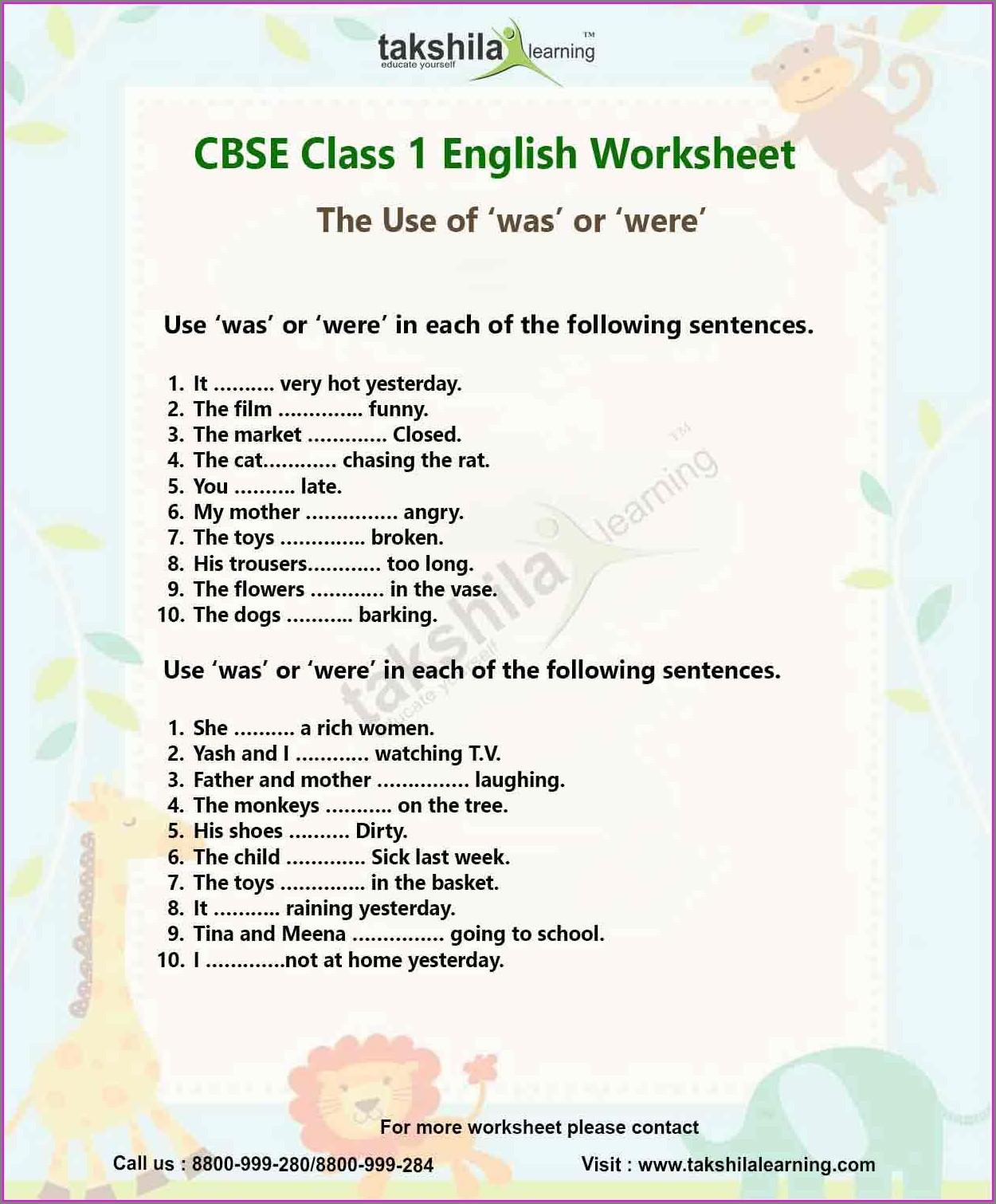 English Worksheet Was Were