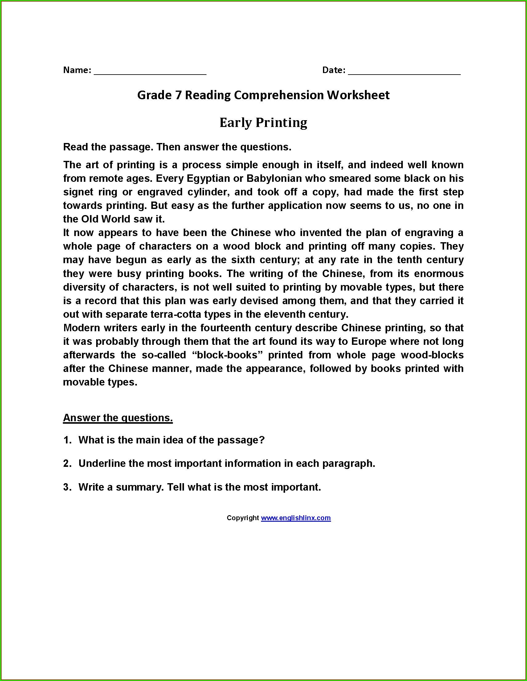 English Worksheets For Grade 7 Comprehension