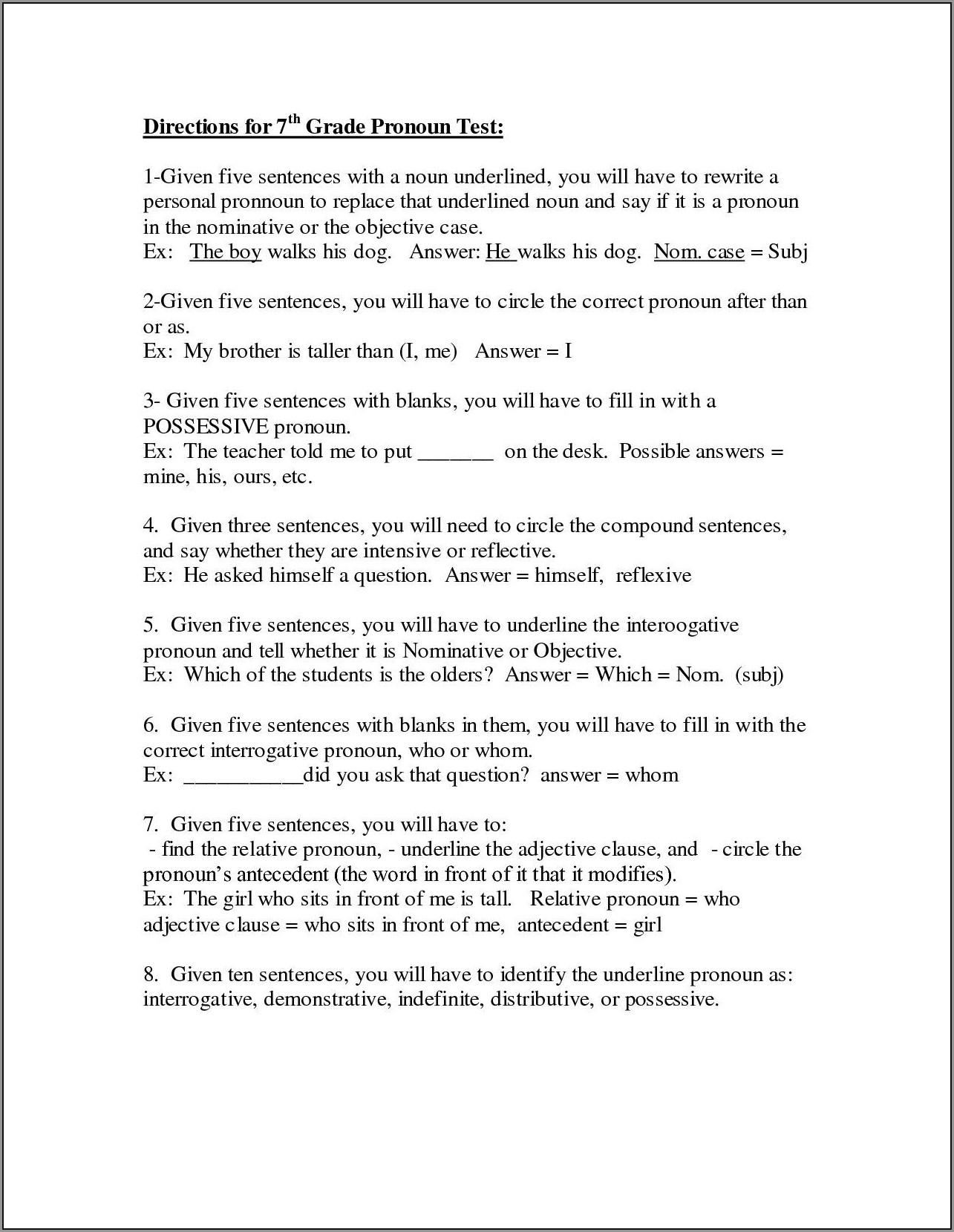 English Worksheets Questions And Answers