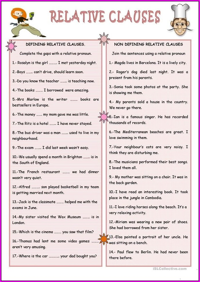 English Worksheets Relative Clauses