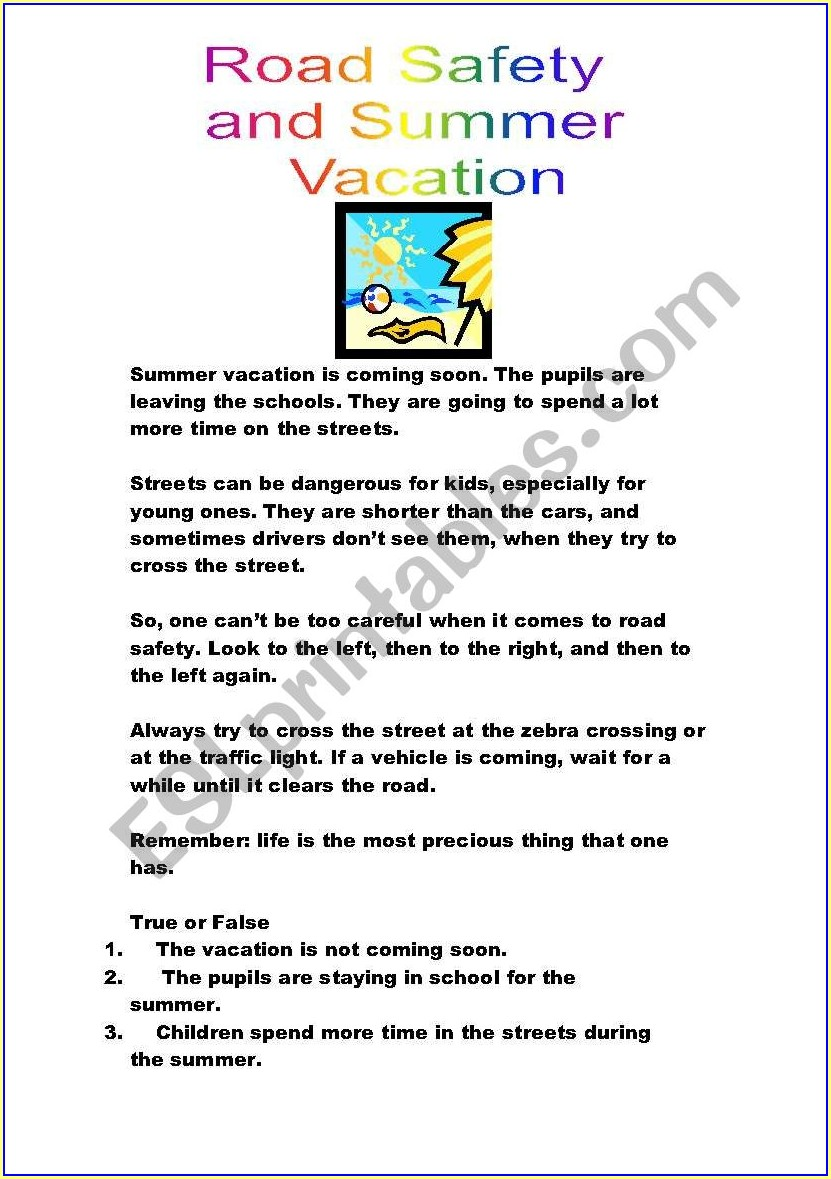 English Worksheets Road Safety