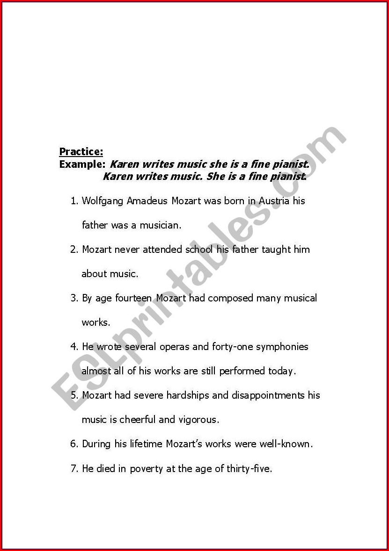 English Worksheets Run On Sentences