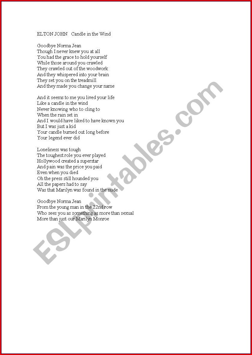 English Worksheets With Songs