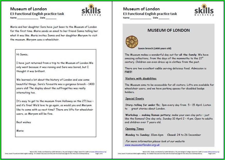 Entry 3 English Worksheets