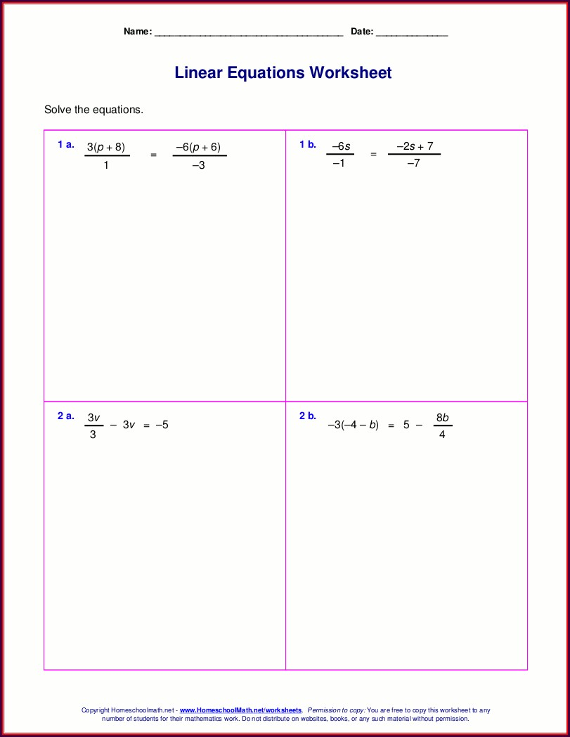 Equations With Rational Numbers Worksheet Pdf