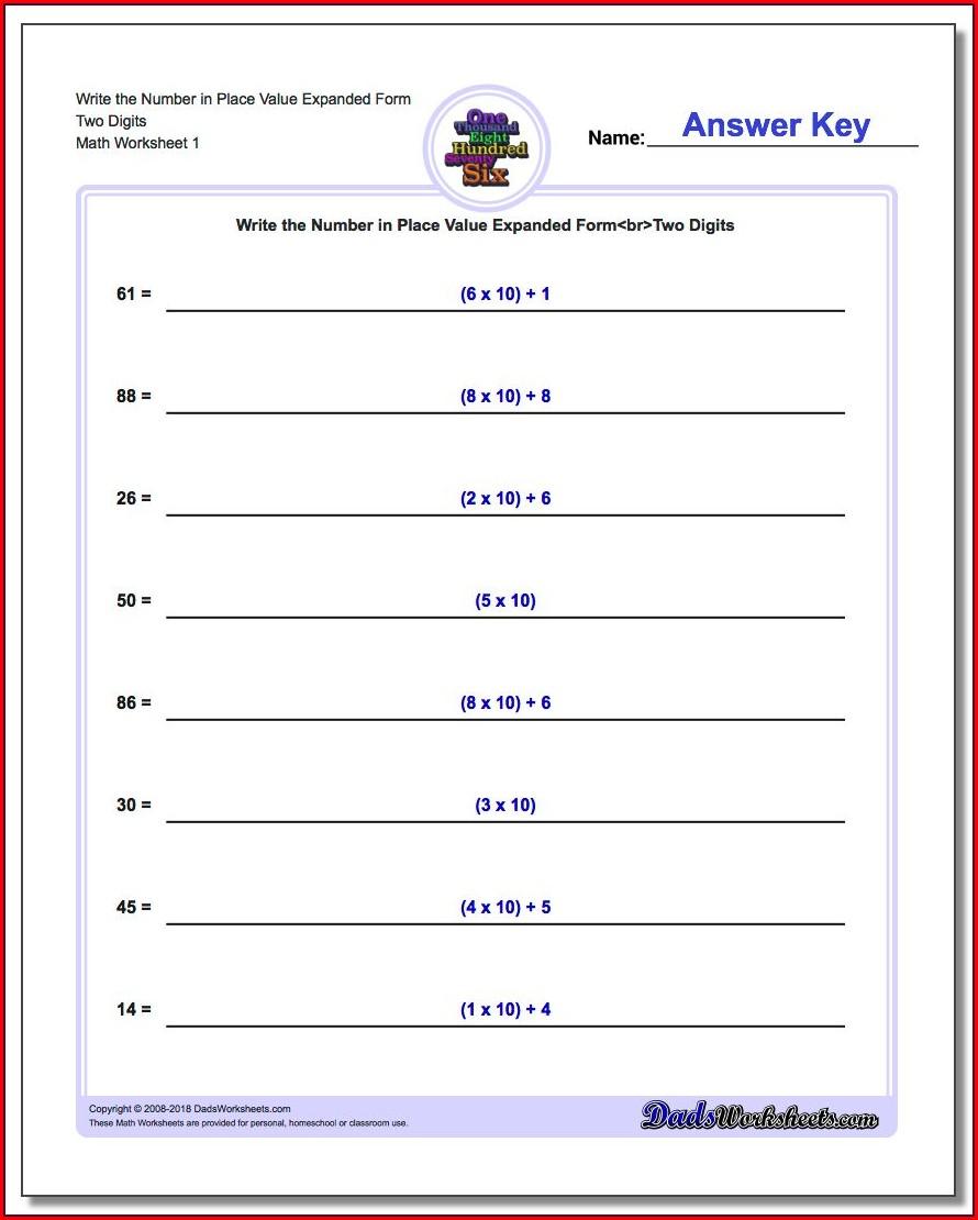 Equivalent Forms Of Numbers Worksheets