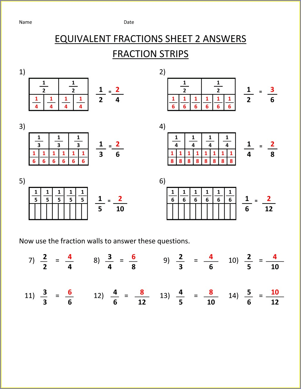 Equivalent Fractions Multiple Choice Worksheet
