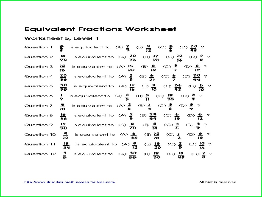 Equivalent Fractions Worksheet For Grade 5