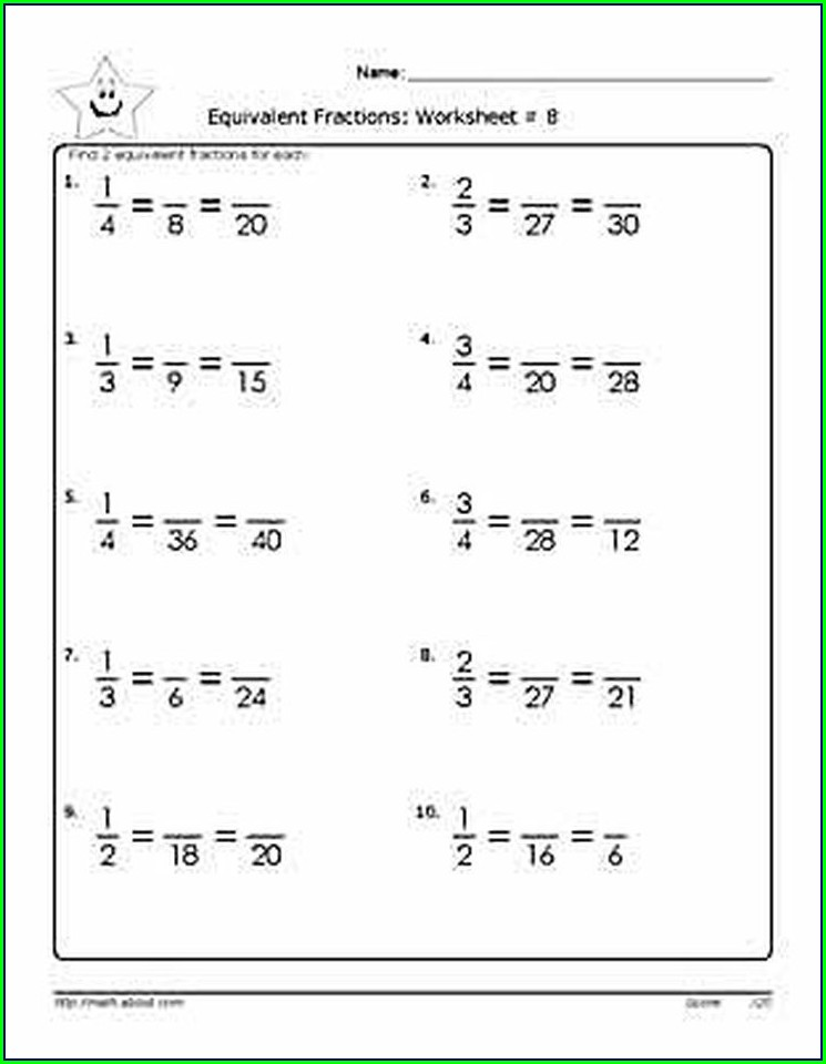 Equivalent Fractions Worksheet For Grade 6