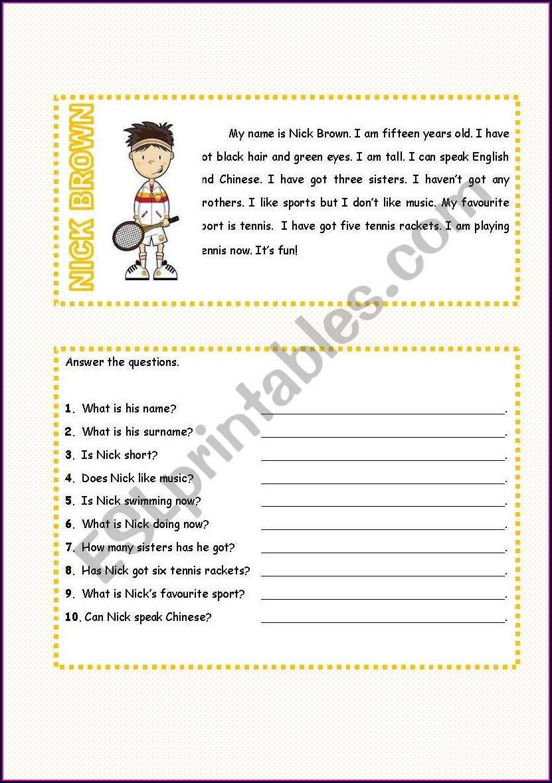 Esl Worksheet Reading Comprehension