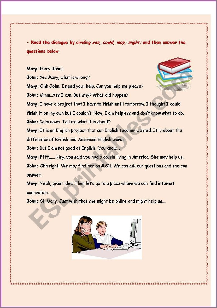 Esl Writing Dialogue Worksheets