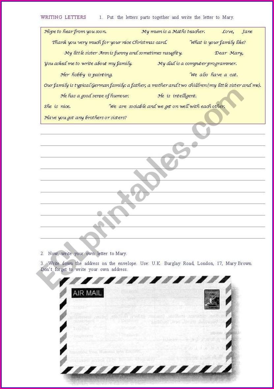 Esl Writing Letters Worksheet