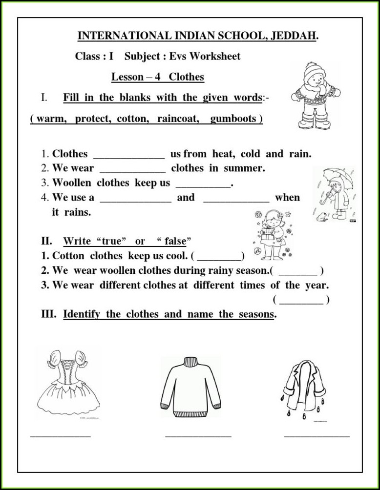 Evs Worksheet On My School