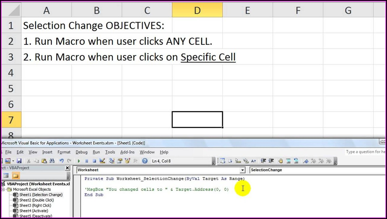 Excel 2010 Worksheet Change Event Not Working