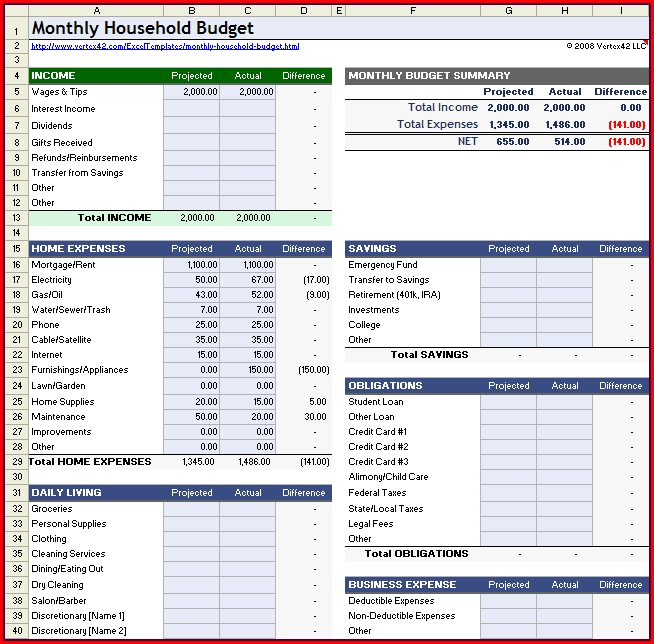Excel Household Monthly Budget Spreadsheet