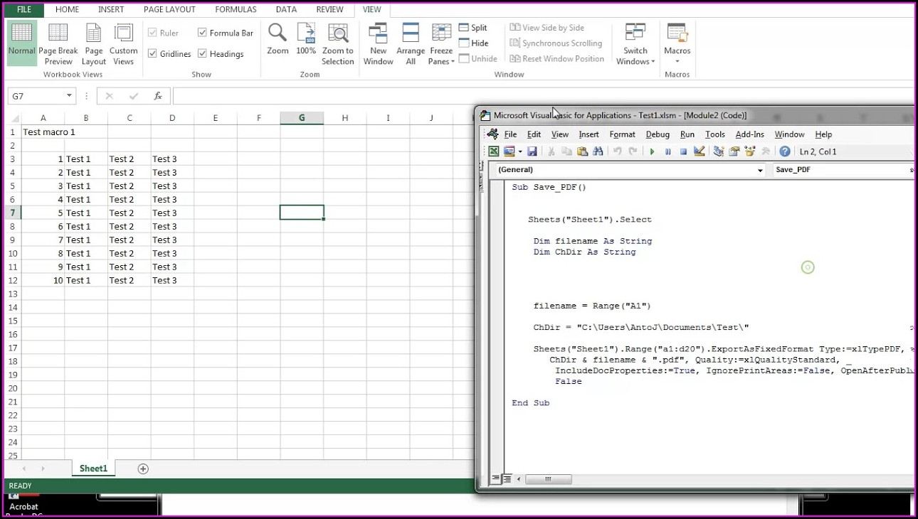 Excel Macro In Sheet