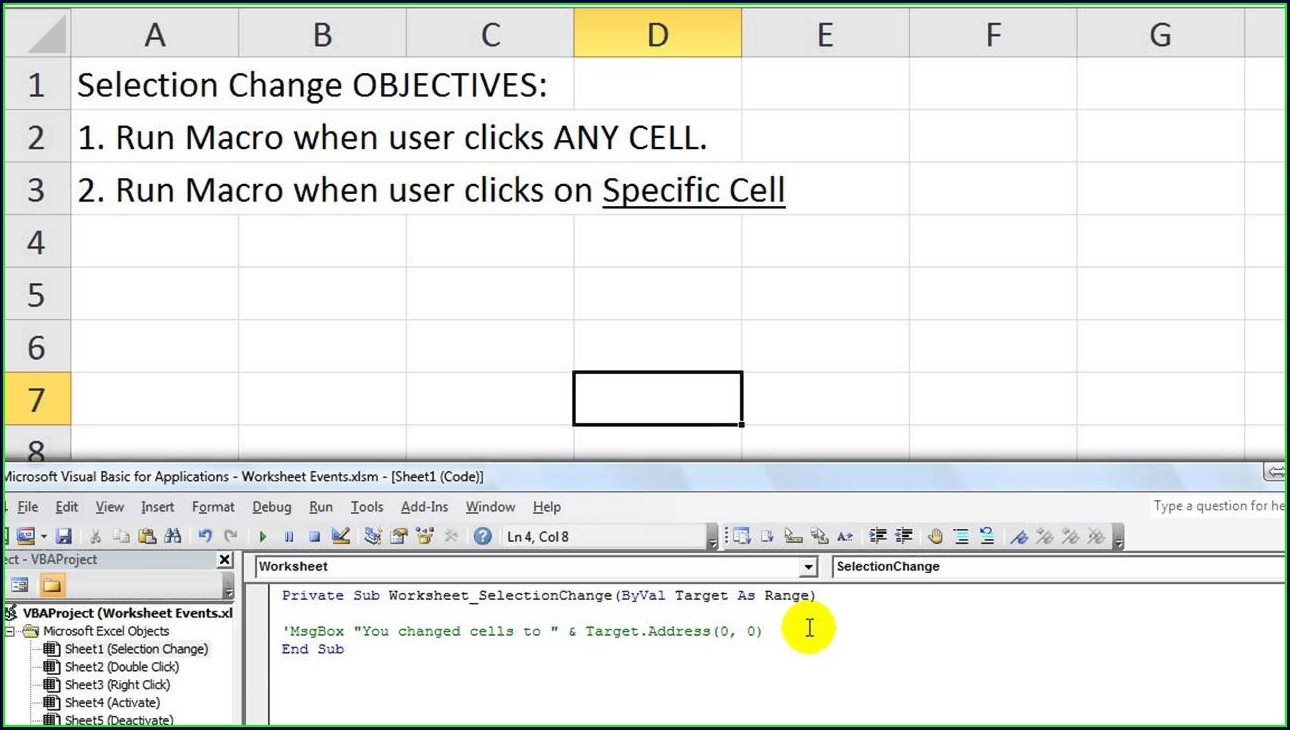 Excel Macro On Sheet Change