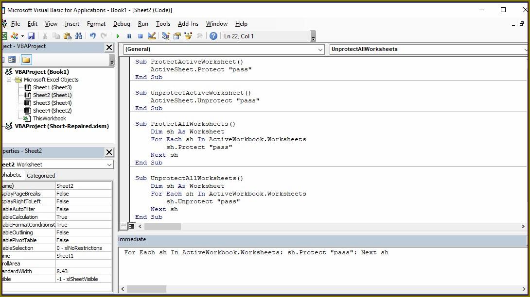 Excel Macro Unlock Workbook