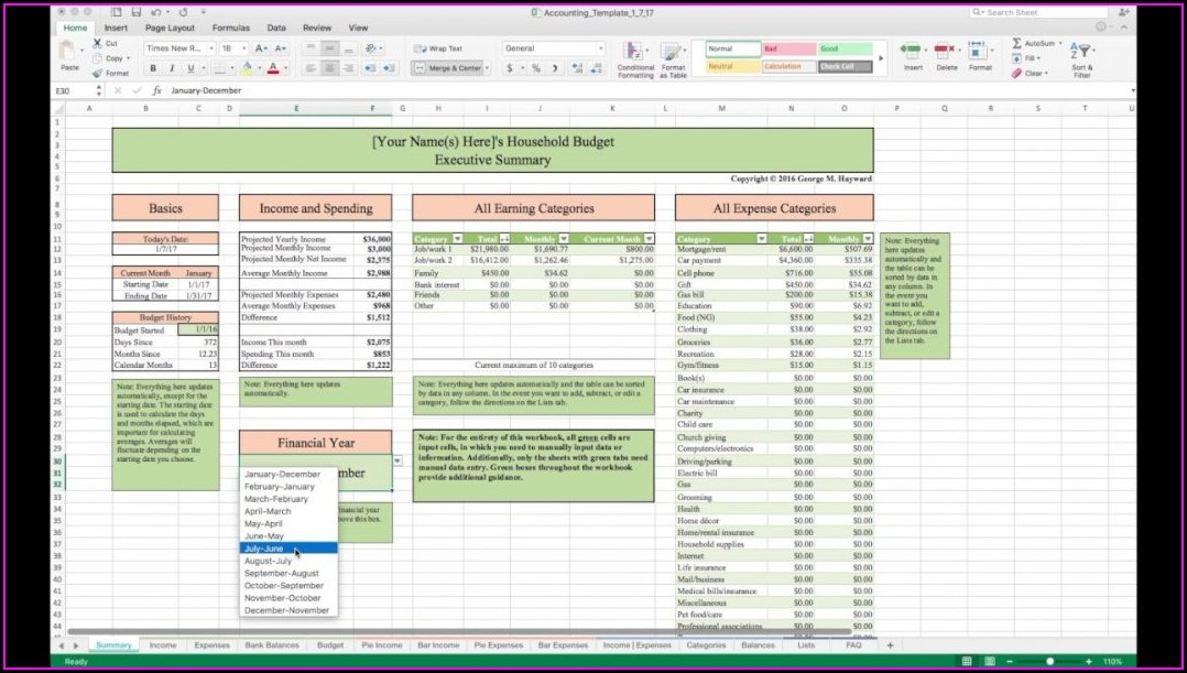 Excel Monthly Home Budget Worksheet