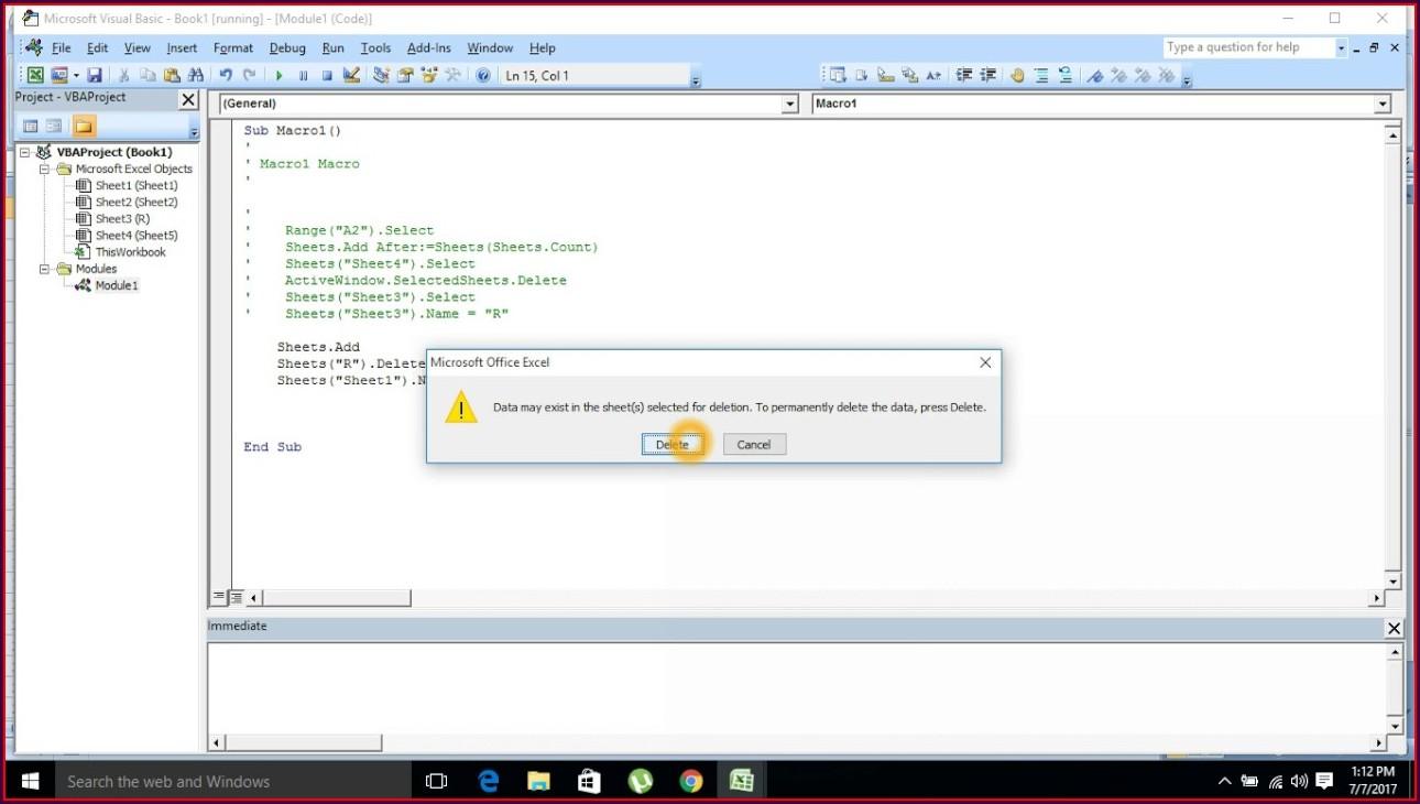 Excel Vba Create And Delete Worksheet
