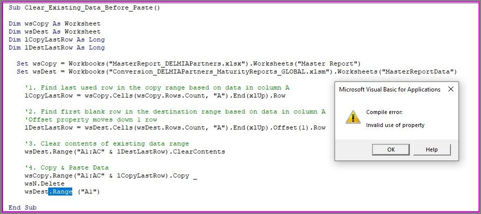 Excel Vba Delete Worksheet Error