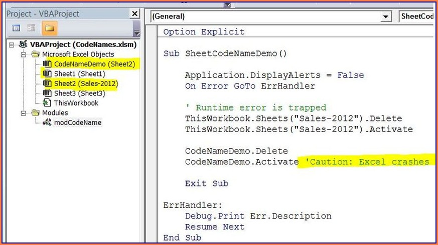 Excel Vba Rename Worksheet Codename