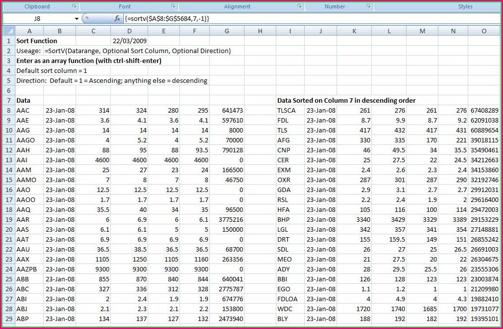 Excel Vba Sort Data In Array