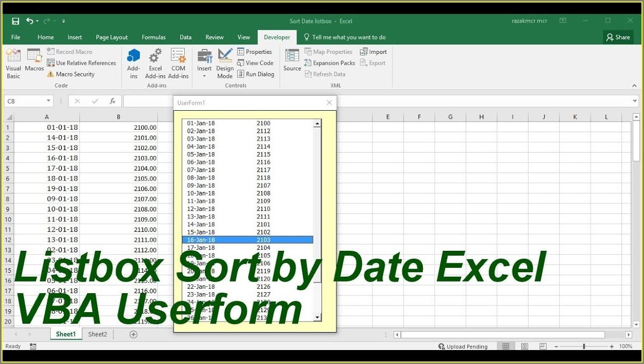 Excel Vba Sort Multicolumn Listbox