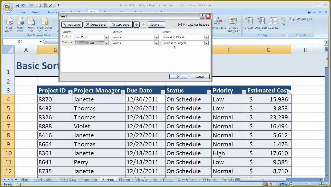 Excel Vba Sort Multiple Tables